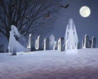 Samengesteld beeld van spoken en knuppels onder een volle maan in een sneeuwbegraafplaats, VT royalty-vrije illustratie