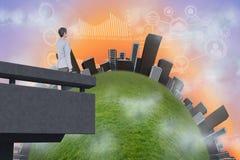 Samengesteld beeld van stad op een heuvel vector illustratie