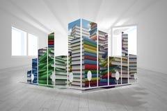 Samengesteld beeld van stapels van boeken op het abstracte scherm Stock Fotografie