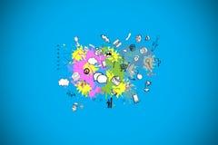 Samengesteld beeld van technologie en bedrijfspictogrammen op verfplonsen royalty-vrije illustratie