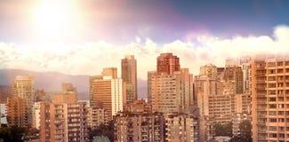 Samengesteld beeld van toneelmening van heldere zon over witte cloudscape royalty-vrije stock foto