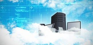 Samengesteld beeld van toneelmening van pluizige 3d wolken vector illustratie