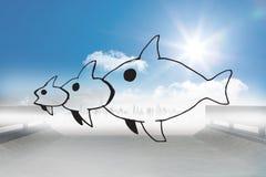 Samengesteld beeld van vissen die een vis eten die een vis eten Royalty-vrije Stock Fotografie