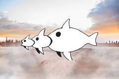 Samengesteld beeld van vissen die een vis eten die een vis eten Royalty-vrije Stock Foto