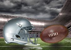 Samengesteld beeld van voetbalvoetbal in 3d Stock Foto