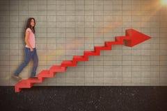 Samengesteld beeld van vrij het donkerbruine 3d stappen Stock Fotografie