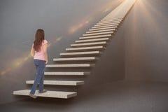 Samengesteld beeld van vrij het donkerbruine 3d stappen Royalty-vrije Stock Afbeeldingen