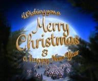Samengesteld beeld van vrolijk Kerstmisbericht Royalty-vrije Stock Afbeeldingen
