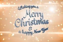 Samengesteld beeld van vrolijk Kerstmisbericht Stock Foto's