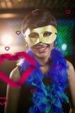 Samengesteld beeld van vrouw die maskerade in bar dragen royalty-vrije stock foto's