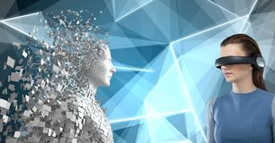 Samengesteld beeld van vrouw die virtuele 3d werkelijkheid gebruiken Stock Foto