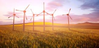 Samengesteld beeld van windmolens zij aan zij tegen witte 3d achtergrond Royalty-vrije Stock Foto