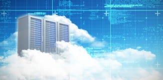 Samengesteld beeld van witte wolken in hemel bij 3d nacht Stock Afbeelding