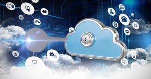 Samengesteld beeld van wolk 3d gegevensverwerkingspictogrammen Royalty-vrije Stock Afbeelding