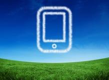 Samengesteld beeld van wolk in vorm van tabletpc Royalty-vrije Stock Fotografie