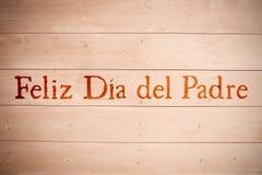 Samengesteld beeld van woord feliz dia del padre stock fotografie