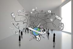 Samengesteld beeld van zaken en globale reiskrabbels Royalty-vrije Stock Afbeeldingen