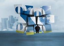 Samengesteld beeld van zakenman en dollartekens op het abstracte scherm Royalty-vrije Stock Afbeeldingen