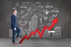 Samengesteld beeld van zakenman het beklimmen stock afbeelding