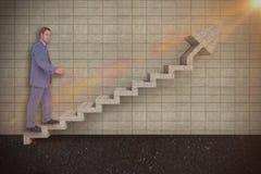 Samengesteld beeld van zakenman het lopen terwijl het gesturing met 3d handen Stock Foto's