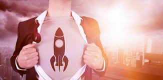 Samengesteld beeld van zakenman het openen overhemd met raketkrabbel royalty-vrije stock fotografie