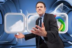Samengesteld beeld van zakenman het stellen met uit wapens Stock Fotografie