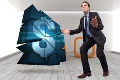 Samengesteld beeld van zakenman het stellen met uitgestrekte wapens Royalty-vrije Stock Afbeelding