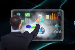 Samengesteld beeld van zakenman in kostuum die deze 3d vingers richten Stock Fotografie