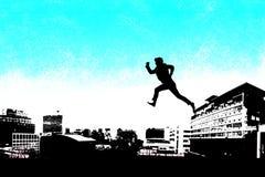 Samengesteld beeld van zakenman lopend silhouet Stock Fotografie