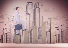 Samengesteld beeld van zakenman met aktentas die over witte achtergrond lopen Stock Foto