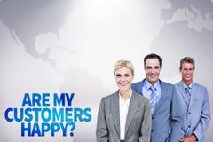 Samengesteld beeld van zakenman op een rij met zijn commercieel team Royalty-vrije Stock Afbeeldingen