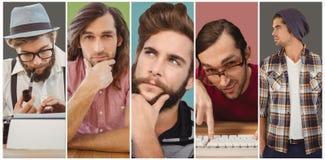 Samengesteld beeld van zekere hipster die weg terwijl status eruit zien stock afbeeldingen