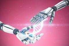 Samengesteld beeld van zilveren metaal robotachtige hand royalty-vrije stock afbeelding