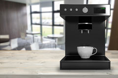Samengesteld beeld van zwarte 3d koffiezetapparaatmachine royalty-vrije illustratie