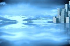 Samengesteld 3d beeld van cityscape stock illustratie