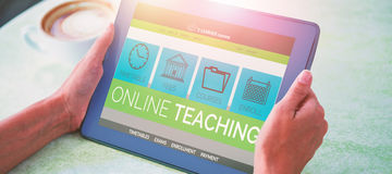 Samengesteld 3d beeld van computer grafisch beeld van e-lerende interface op het scherm Stock Foto