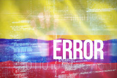 Samengesteld 3d beeld van fout tegen blauw technologieontwerp met binaire code Stock Foto