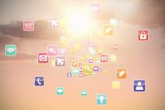 Samengesteld 3d beeld van kleurrijke computertoepassingen Royalty-vrije Stock Foto