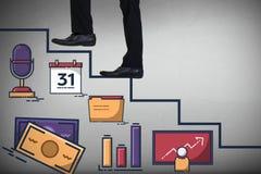 Samengesteld 3d beeld van lage sectie van zakenman die stappen beklimmen Stock Foto's