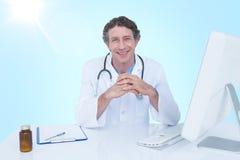 Samengesteld 3d beeld van portret van gelukkige arts Stock Afbeelding