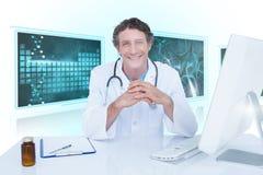 Samengesteld 3d beeld van portret van gelukkige arts Stock Fotografie