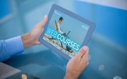 Samengesteld 3d beeld van zakenman die zijn tablet gebruiken Stock Foto
