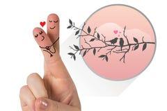 Samengesteld die beeld van vingers als een paar worden gekruist Stock Afbeeldingen