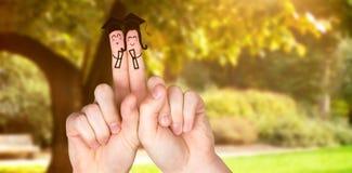 Samengesteld die beeld van vingers als studenten wordt gesteld stock afbeelding