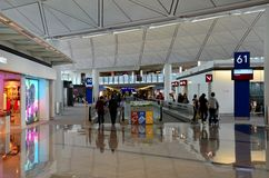 Samenkomst bij Hong Kong Chek Lap Kok-Luchthaven Stock Foto