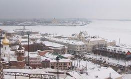 Samenloop van de rivieren van Oka en Volga stock afbeeldingen
