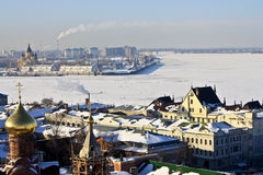 Samenloop van Oka in Volga. Stock Fotografie