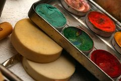 Samenstelling Art Cosmetics Paint Brush Tools royalty-vrije stock fotografie