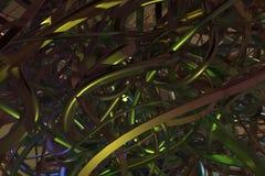Samenstelling de achtergrond abstracte van CGI, bos van slordig koord geometrisch voor ontwerp, grafisch middel Het kleurrijke 3d stock illustratie