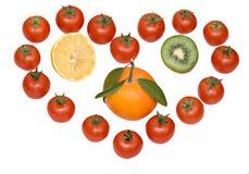 Samenstelling die liefde voor vruchten symboliseert stock afbeelding